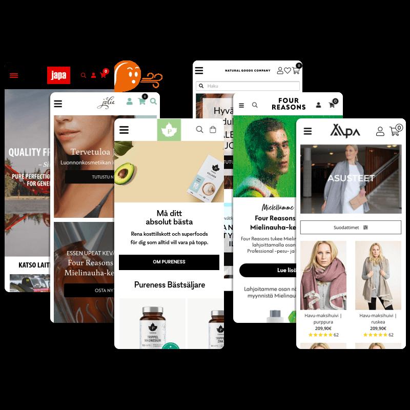 Eecon tekemiä Woocommerce-verkkokauppoja mobiilinäkymässä.