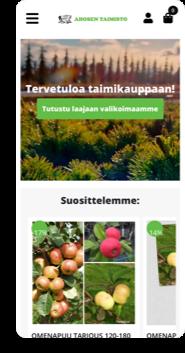 Ahosen Taimiston WooCommerce-verkkokauppa mobiilinäkymässä.