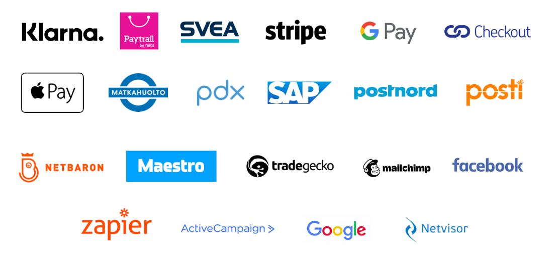 Klarna, Paytrail, Svea, Stripe, Google Pay, Checkout, Apple Pay, Matkahuolto, pdx, SAP, Postnord, Posti, Netbaron, Maestro, Tradegecko, Mailchimp, Facebook, Zapier, ActiveCampaign Google ja Netvisor