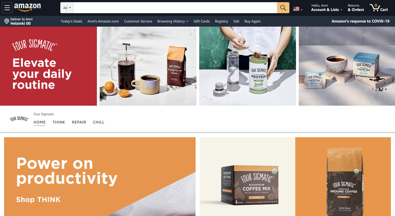 Brändi voi muokata Amazon-sivuja ilmeensä mukaiseksi.