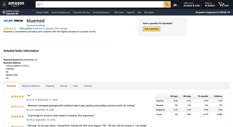 Jälleenmyyjän Amazon-sivut ovat hyvin pelkistetyt.